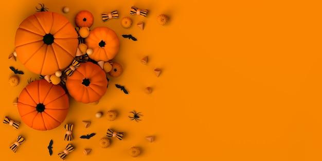 Halloween-banner met pompoenen en snoepjes. plat leggen. 3d illustratie. ruimte kopiëren.