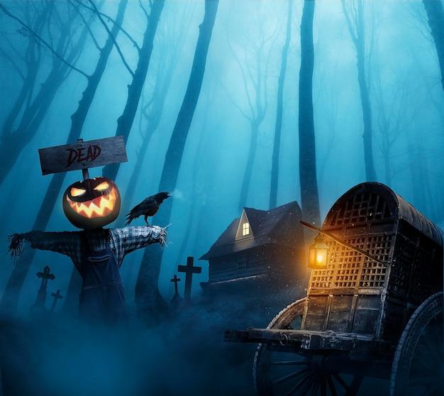 Halloween behang met boze pompoen