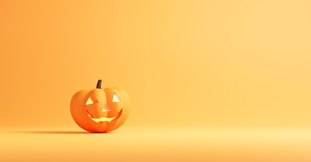 Halloween-concept, pompoen op oranje kleuren.
