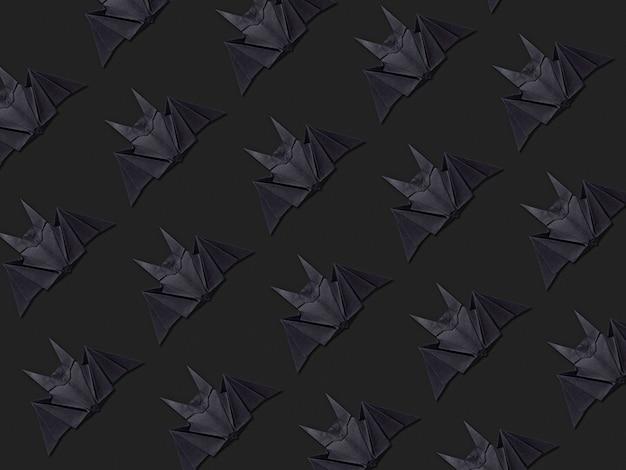 Halloween concept. strepen van papieren vleermuizen met behulp van origami-techniek