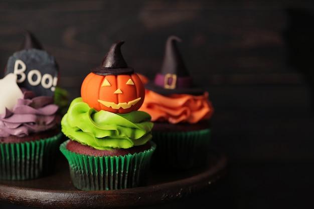 Halloween cupcakes close-up