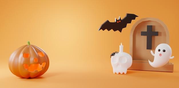 Halloween dag achtergrond leuke grafsteen pompoen spook kaars op de schedel en vleermuis 3d render
