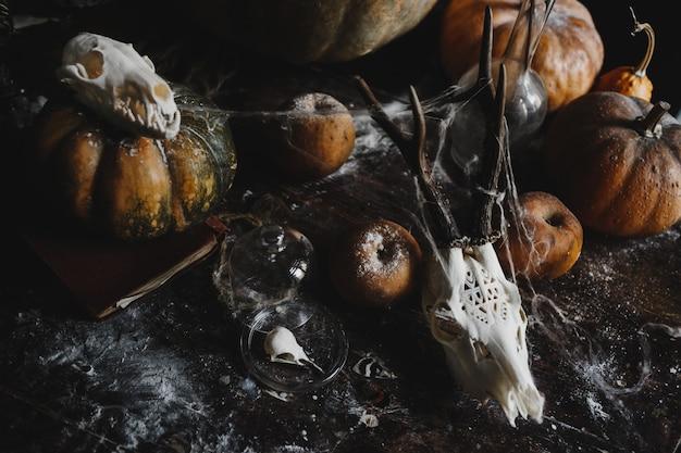 Halloween decor. oude pompoenen, granaatappels, appels