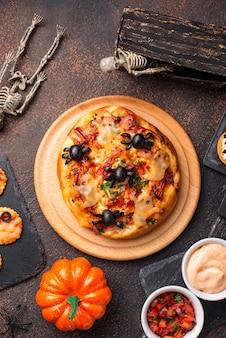 Halloween enge pizza versierde spoken
