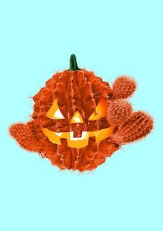 Halloween feest. een alternatieve kijk op het vieren van angstaanjagende herfstvakantie. een pompoen vormde een cactus met de warme kaarsen erin tegen een lichte achtergrond. modern ontwerp. hedendaagse kunstcollage.