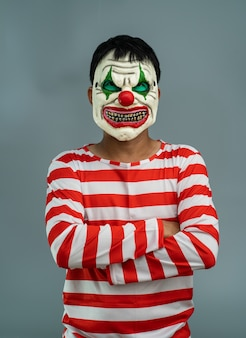 Halloween feestkostuum. joker make-up masker portret.