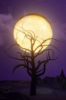 Halloween grafische achtergrond. grote gele volle maan op paarse hemel met ster en wolk. geel paars thema. 3d illustratie weergave