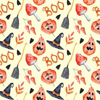 Halloween naadloos patroon op ivoorkleurige achtergrond aquarel helloween herhaal print