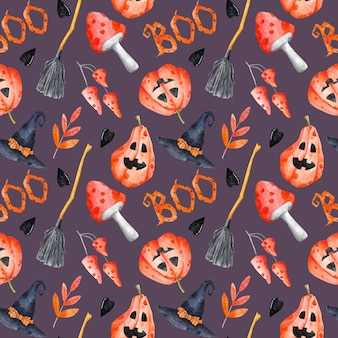 Halloween naadloos patroon op violette achtergrond aquarel herfstvakantie herhaal print