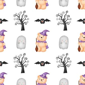 Halloween naadloze patronen met schattige heks en halloween-elementen