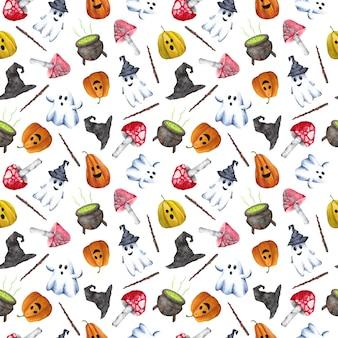 Halloween naadloze patroon op witte achtergrond.