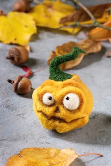 Halloween-naald vilten pompoen