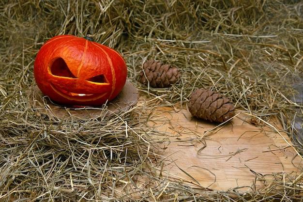 Halloween-pompoen in rook staat in hooi op een houten standaard