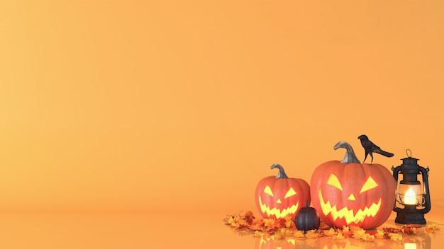 Halloween-pompoen, jack o lantern, halloween-decoratieachtergrond