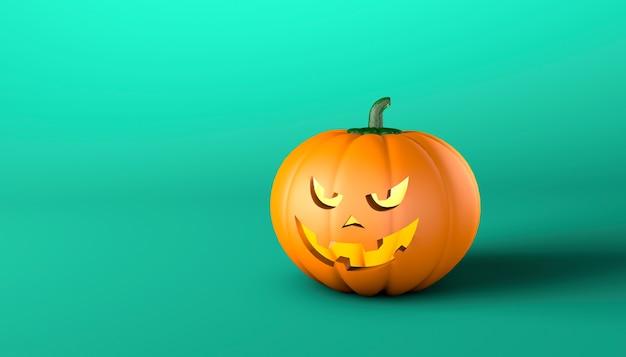 Halloween-pompoen met een kwaad gezicht op een groene achtergrond. ruimte voor tekst kopiëren. 3d render