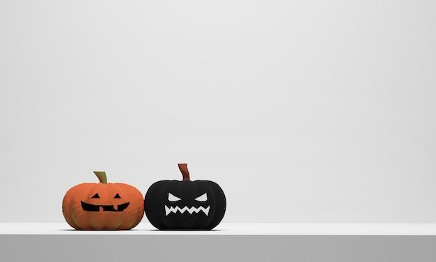Halloween-pompoen op wit tafelblad. 3d render illustratie
