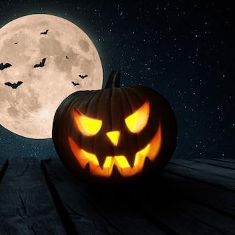Halloween-pompoen staat op een houten oude tafel tegen de achtergrond van de nachtelijke hemel met een volle maan en vleermuizen. gelukkig halloween-concept voor ontwerp