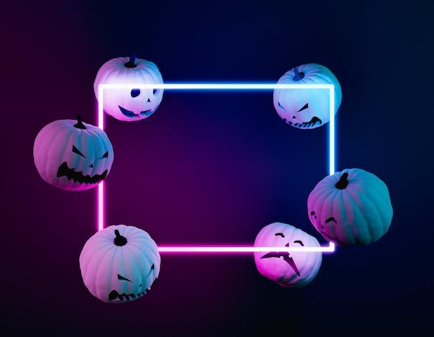 Halloween-pompoenen met neonlichtframe