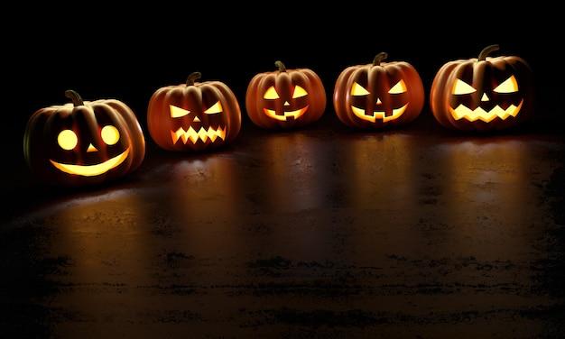 Halloween pompoenen met reflecties. happy halloween wenskaart. 3d-weergave