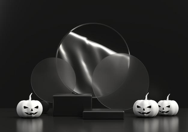 Halloween-pompoenlantaarn en productvertoningspodium 3d-rendering