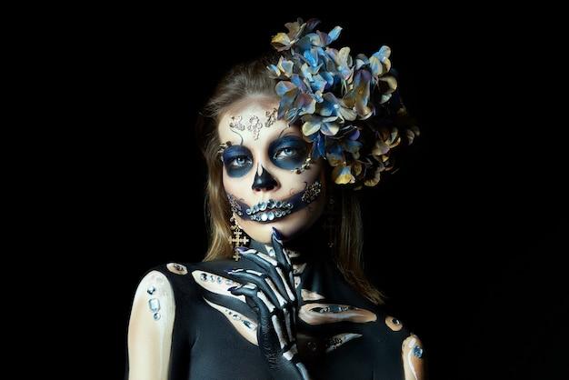 Halloween-portret van een skeletvrouw