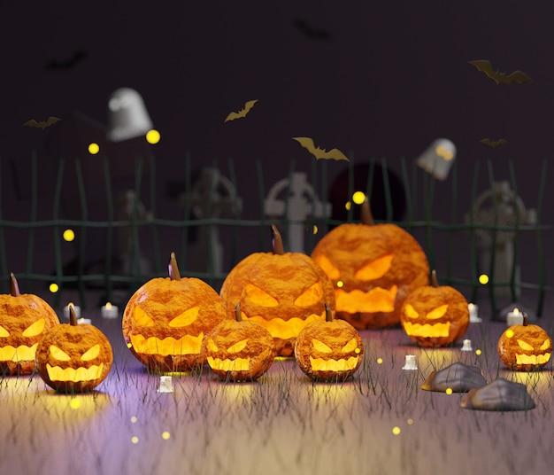 Halloween-scène met lege ruimte voor uitnodiging voor feest, sociale media en mock-up. Premium Foto
