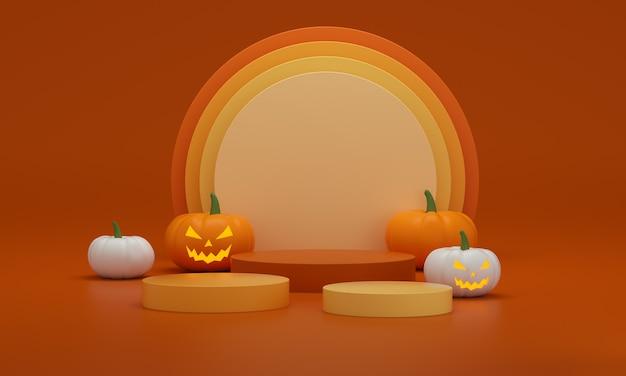 Halloween-sokkels met pompoenen wit, oranje en geel op een oranje studioachtergrond. leeg podiumplatform. 3d-rendering.