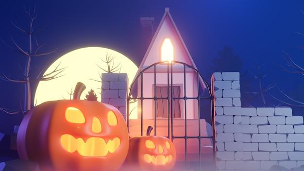 Halloween-thema met pompoenen en een huis bij nacht., 3d-model en illustratie.