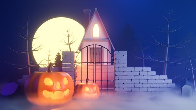 Halloween-thema met pompoenen en een huis 's nachts.
