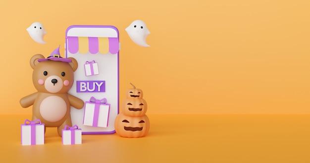 Halloween winkelen online concept met schattige beer en geesten