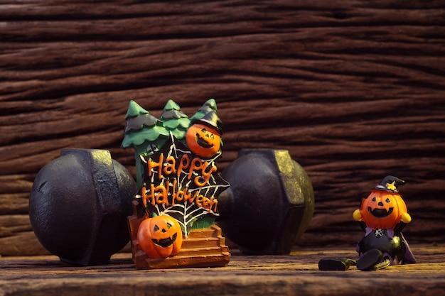 Halloweenfestival, head doll pumpkins spookachtig en de zwarte ijzeren halter