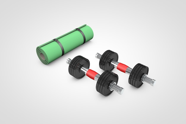 Haltergewichten voor oefening op blauwe achtergrond 3d illustratie