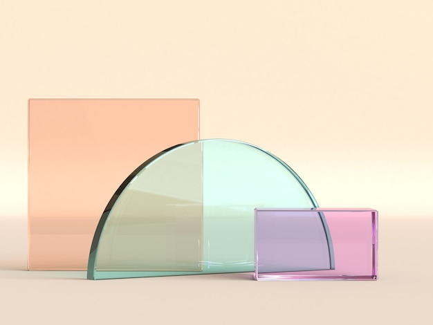 Halve cirkel en vierkante transparante objecten