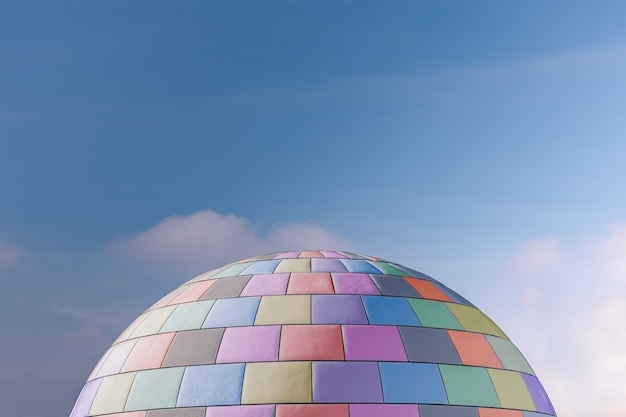 Halve cirkel met gekleurde tegels en lucht