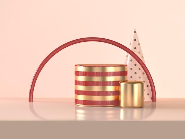 Halve cirkel rode gouden cilinder abstracte 3d teruggevende scène