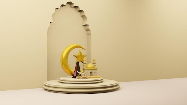 Halve maan en sterren gouden met moskee islamitisch symbool 3d-rendering