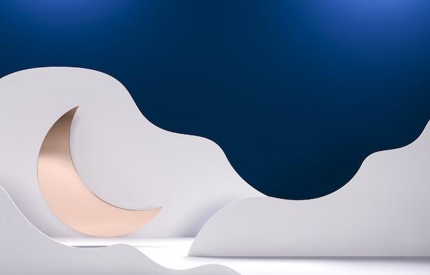 Halve maan, maan - ramadan mubarak uitnodiging met papier gesneden wolken