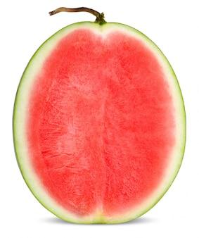 Halve watermeloen geïsoleerd op witte clippint pad