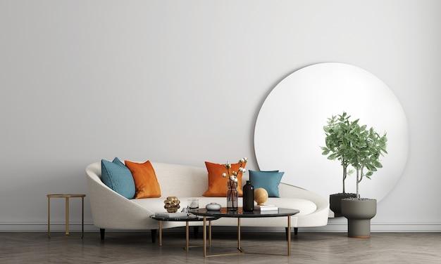 Halverwege de eeuw moderne witte woonkamer interieur met decoratie en lege muur mock up achtergrond, 3d-rendering, 3d illustratie