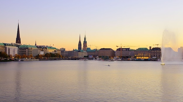 Hamburg innenalster afterglow duitsland alster