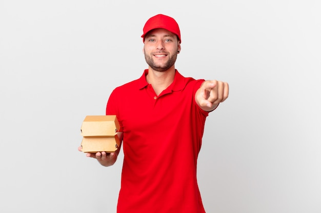 Hamburger bezorg man wijzend op camera die jou kiest
