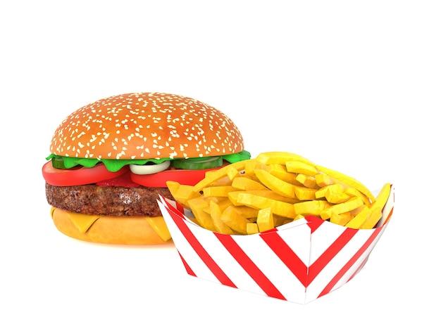 Hamburger en friet op wit wordt geïsoleerd