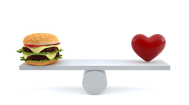 Hamburger en rood hart op geïsoleerde schalen.