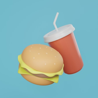 Hamburger en sodawater