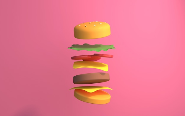 Hamburger ingrediënten geïsoleerd