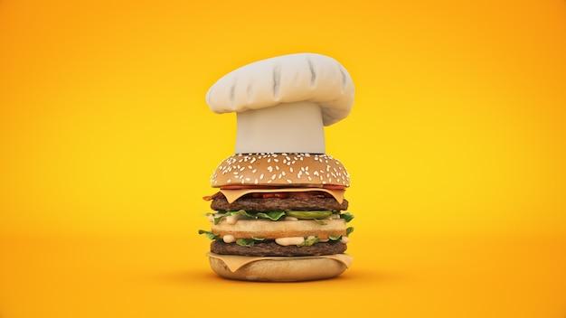 Hamburger met hoed chef 3d-rendering