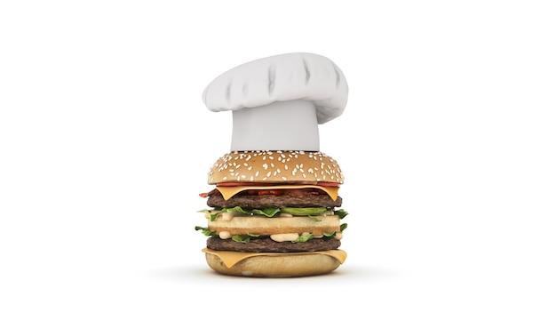 Hamburger met hoed chef-kok 3d-rendering