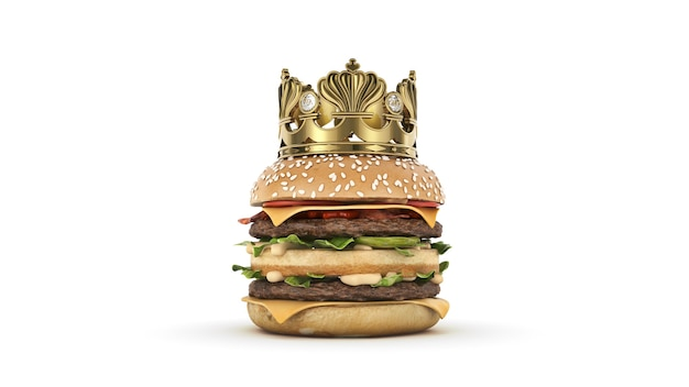 Hamburger met kroon geïsoleerd 3d-rendering