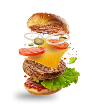 Hamburger met vliegende elementen