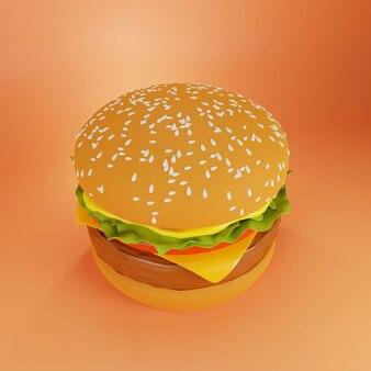 Hamburger op een sinaasappel, 3d-rendering